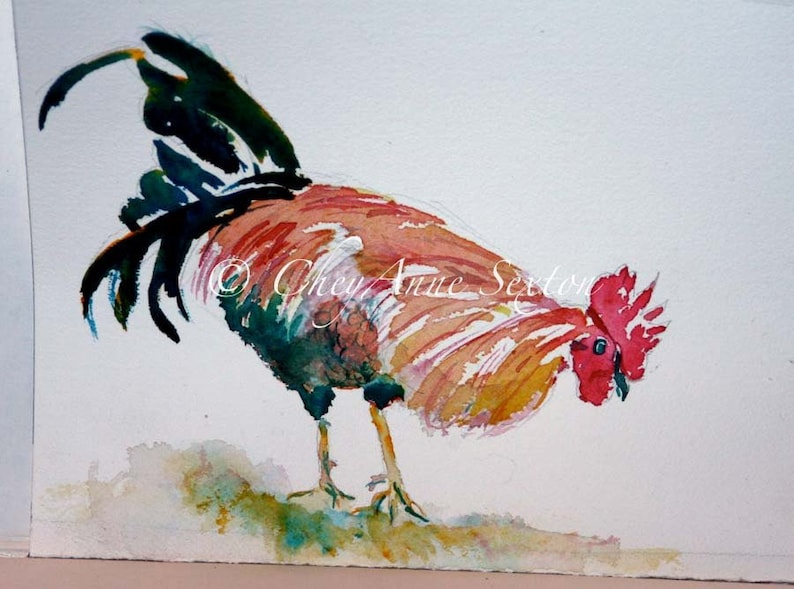 Rooster watercolor  Fine Art Home Decor  Fall colors giclee image 0