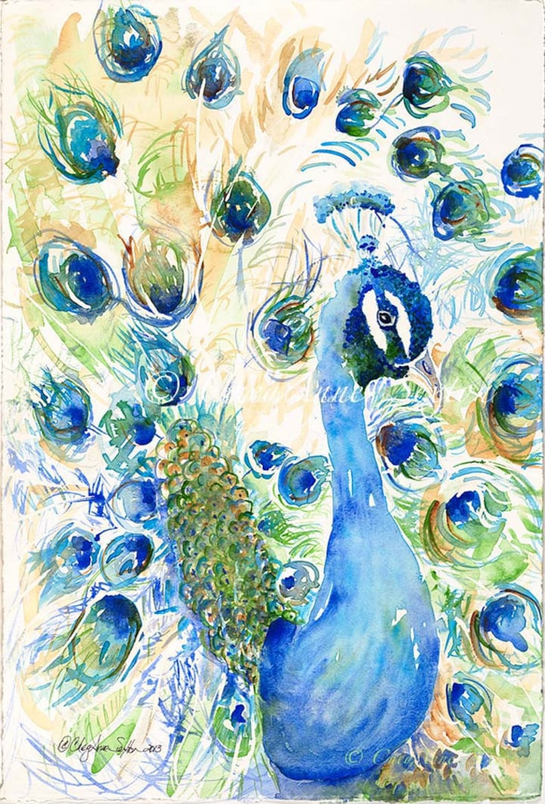 Peacock of Teal Turquoise and Royal Blue  animal art image 0
