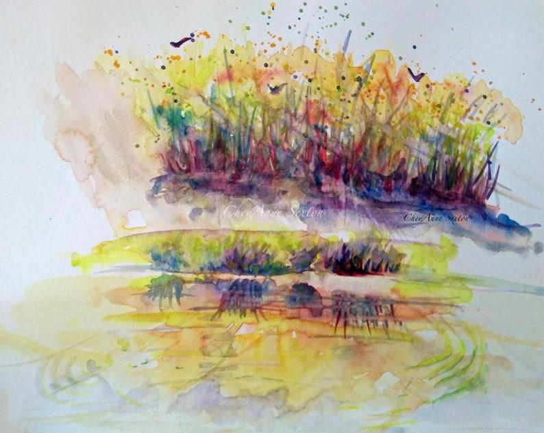 Water Landscape Art  Purple Orange Willow Pond Reflections image 0