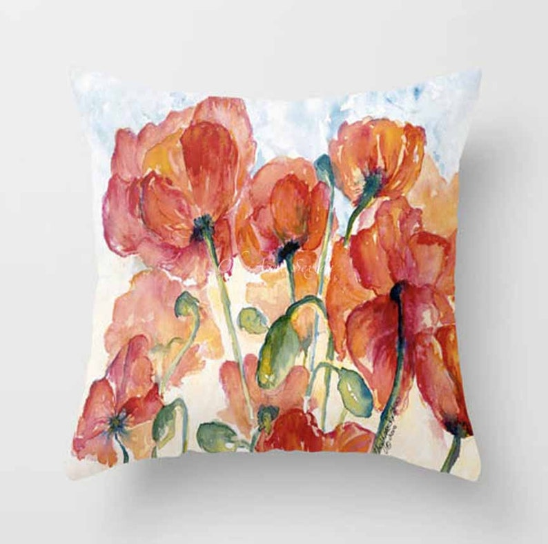 Orange Peachy Poppies in a field Throw PILLOW cover coral image 0