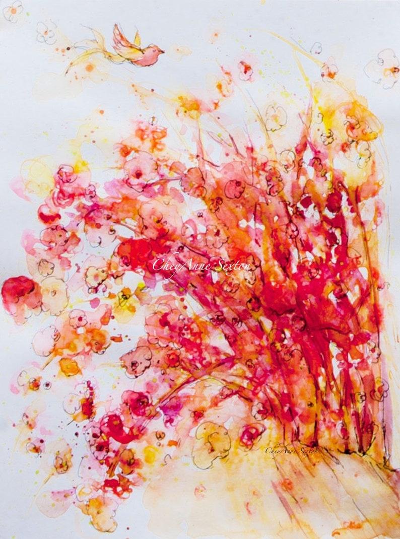Pink Orange Yellow Landscape Tree Art  Willow Plein Air Wall image 0