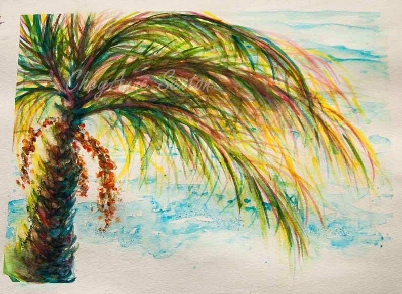 Turquoise Green Palm Tree over blue ocean seas WaterColour image 0