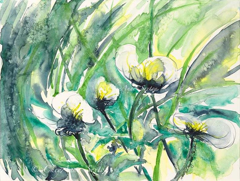 White Waterflowers  ORIGINAL watercolor painting flowing image 0