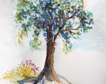 Summer Tree watercolor giclee print 11x14