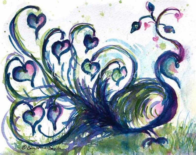 Baby's Decor Peacock Love Heart Art Print  Bird art  image 0