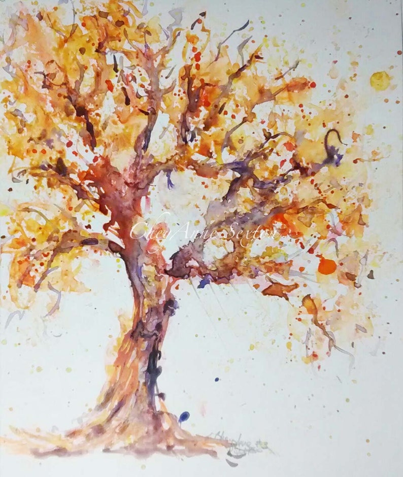 Tree art Purple Orange watercolor art Big twisted tree art image 0