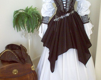 Complete Renaissance Pirate Wench Costume. Different fabrics for the bodice. Shirt Included. Free Domestic Priority Mail Shipping.