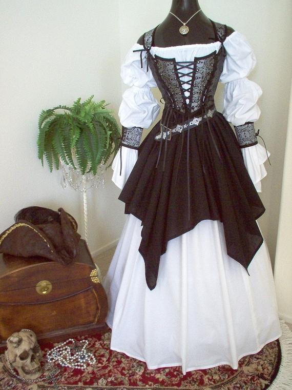 Gray Black Skulls Pirate Wedding Gown Dress Costume. Different | Etsy