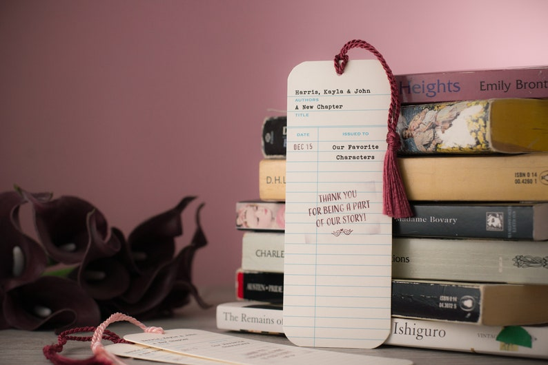 Personalized Library Check-Out Card Wedding Bookmark Favors image 0