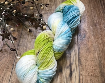 TEAL it LIKE it IS, Hand-dyed yarn 80/20 superwash merino fingering sock weight yarn, teal, blue, chartreuse, green, speckled, variegated