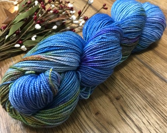MERMAID SCALES, Hand-dyed yarn 80/20 superwash merino fingering sock weight yarn, blue, purple, green, gold, variegated, nautical