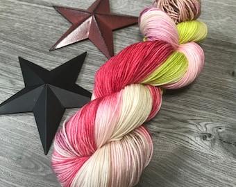 SWEET NECTAR, Hand dyed yarn, 75/25 superwash merino nylon fingering sock weight yarn, variegated, red, green chartreuse, berry, summer