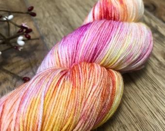 SPRING EXPLOSION, Hand dyed yarn, 75/25 superwash merino nylon fingering sock weight yarn, variegated, orange, pink, yellow, spring