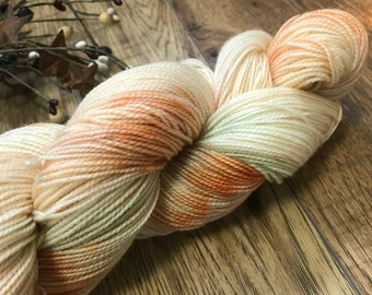 CHINESE LANTERN, hand dyed yarn 80/20 BFL, superwash Bluefaced Leicester wool nylon fingering, orange, green, plum blue speckled, variegated