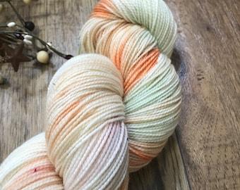 CHINESE LANTERN, Hand-dyed yarn 80/20 superwash merino fingering sock weight yarn, green, pistachio, orange, plum, blue speckled, variegated