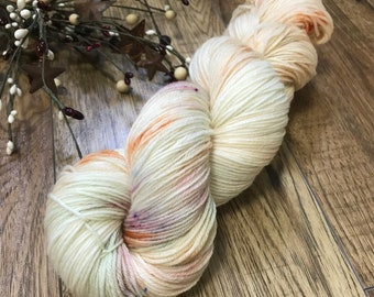 CHINESE LANTERN, hand-dyed yarn mcn 80/10/10 superwash merino wool nylon cashmere fingering, green pistachio, orange, speckled variegated