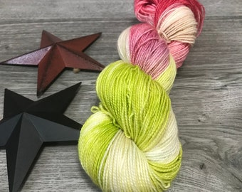 SWEET NECTAR, hand dyed yarn 80/20 BFL, superwash Bluefaced Leicester wool nylon fingering, chartreuse, green, red, berry, summer