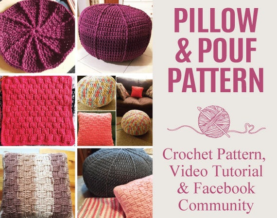 Pillow And Pouf Crochet Patterns Step By Step Video Tutorial Etsy