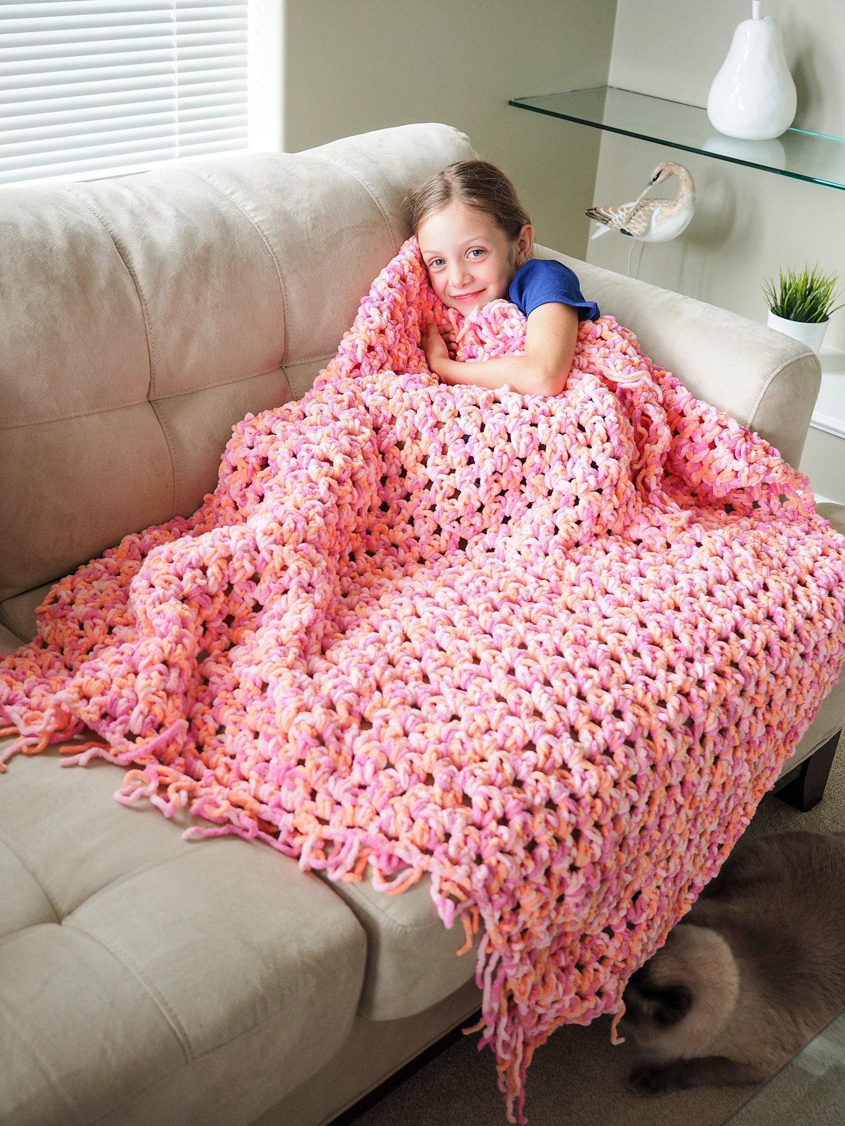 Easy Blanket Crochet Pattern Chunky Afghan Crochet Pattern Etsy