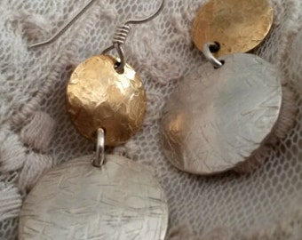 Hammered Sterling Silver and Brass Dangle Circle Earrings