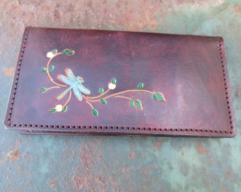 Leather Checkbook Cover with Dragonfly