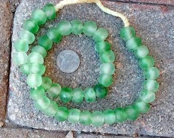 Ghana Glass Beads: Green Cloud (12x13mm)