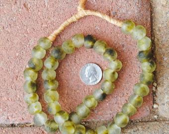Ghana Glass Beads: Green Cloud 12mm