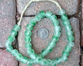 Ghana Glass Beads: Green Cloud 12x13mm