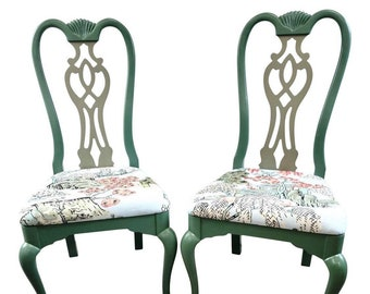 Two Toned Teal Green Chippendale Chinoiserie Dining Chairs in Thibaut's Asian Scenic Fabric / Robin Egg