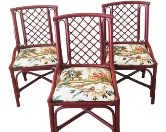 Three Red Chinoiserie Bamboo Rattan Dining Chairs in Brunschwig & Fils Le Lac Linen