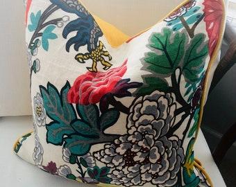 """20"""" x 20"""" Schumacher Chiang Mai Dragon Alabaster Yellow Linen Pillow Cover"""