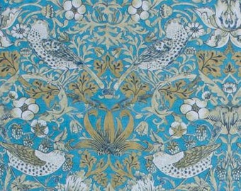 """55"""" Wide Chinoiserie Victorian Style Fabric Floral Bird Botanical Pattern Teal Blue Red Brown Sage Green Drapery Upholstery  IL V9"""