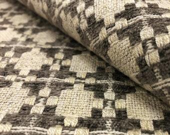 Designer Textured Woven Espresso Brown Kilim Stripe Upholstery Drapery Fabric STA379