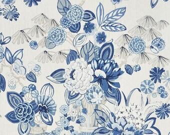 2 Yds Min Schumacher Cassis Floral 2 Colors Rouge Bleu Linen Upholstery Drapery Fabric