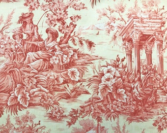 52 Wide Beige Blue Peach Pink Cream Brown Linen Viscose Toile Home Decorator Fabric French Country Upholstery Drapery Village Farm PV1 2 3