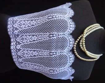 36 Wide French Sequined Cream Lace Victorian Style Wedding Lace Bridal Lace Antique Style Lace Made in France Alencon  10 JM31