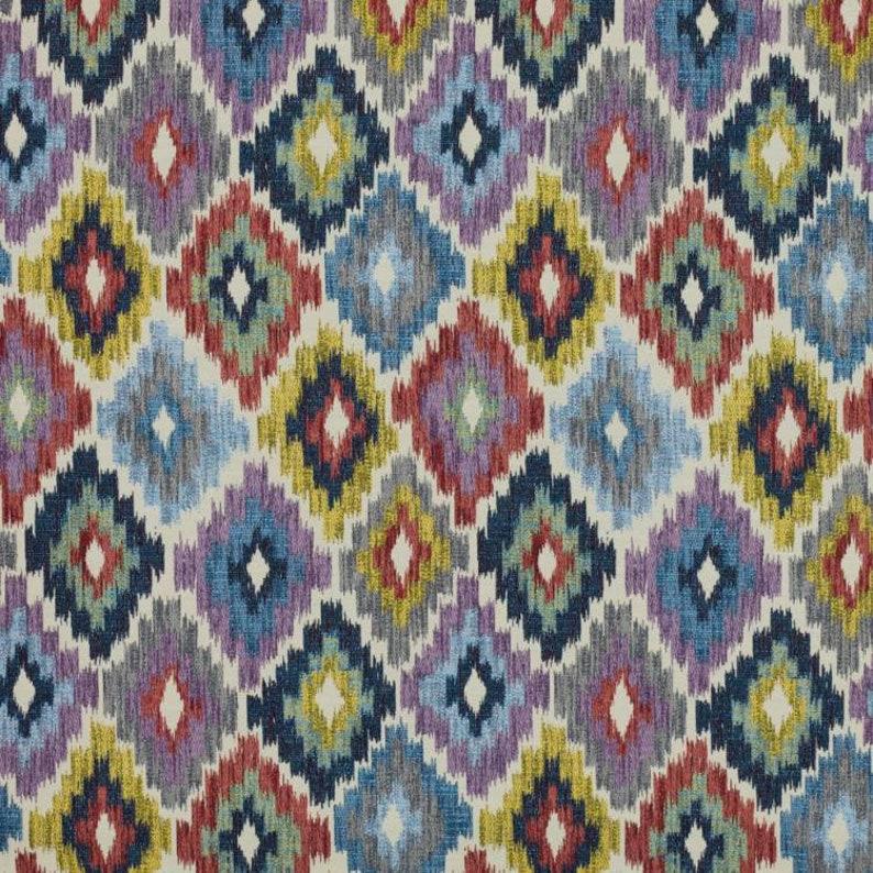 56 Wide Diamond Kilim Fabric Geometric Mustard Navy Blue Burgundy Green Gray Charcoal Brown Moroccan Upholstery Drapery  IL V9