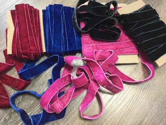 "25 mm 4 1//2 yards Luxurious Single Faced Colored Plush Velvet Ribbon W- 1/"""