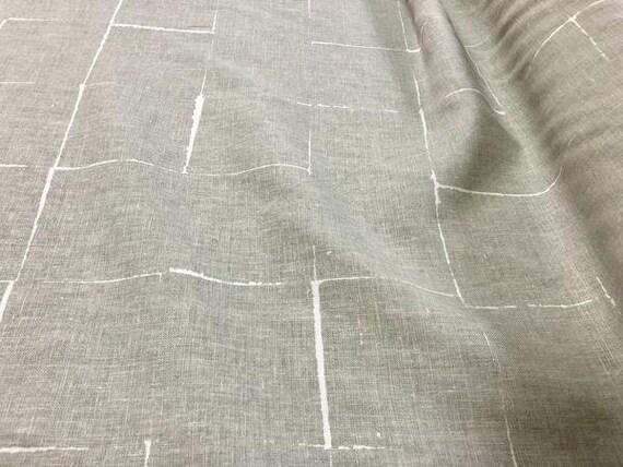 2003 Raoul Textiles Riptide Linen Fabric Seafoam Abstract Drapery Sta