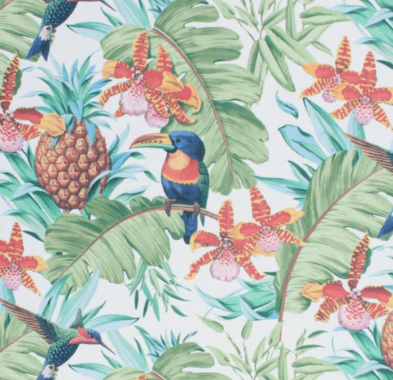 Tropical Pattern Blue Teal Sage Green Orchid Fabric Orange Yellow Pink  Pineapple Bird Fruit Palm Leaves Upholstery Drapery Tapestry IL8