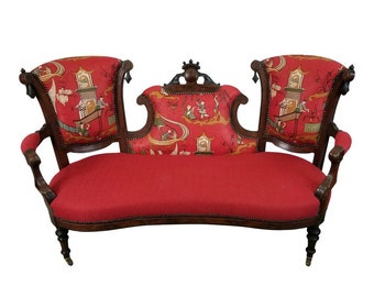 1800s Antique Victorian Sanderson & Sons Pagoda River Linen and Red Crypton Chinoiserie Fabric Sofa Settee