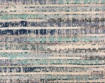 Heavy Duty Rustic Nautical Aqua Seafoam Navy Blue Cream Taupe Stripe Upholstery Fabric