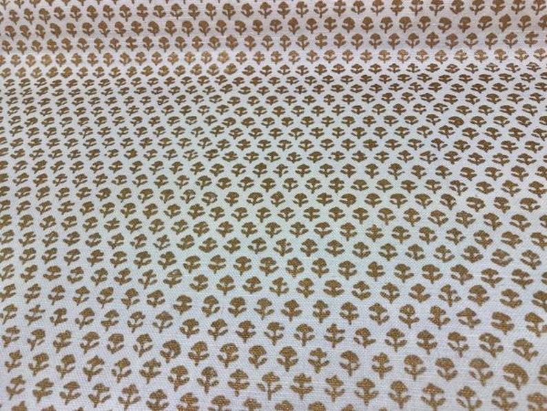 John Robshaw Bindi Linen Fabric Gold Hand Printed Fabric Small Scale Drapery Upholstery Sta