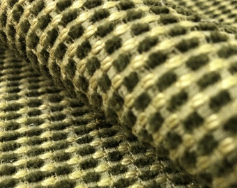 Nubby Woven Sage Olive Green Beige Rustic MCM Mid Century Modern Small Scale Chenille Upholstery Fabric WHS063