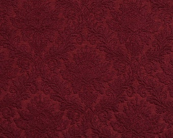 Heavy Duty Burgundy Red Wine Damask Upholstery Drapery Fabric