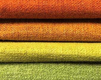 Water & Stain Resistant Heavy Duty Burnt Orange Yellow Green Mid Century Modern Heathered Tweed Upholstery Drapery Fabric FB-ATX