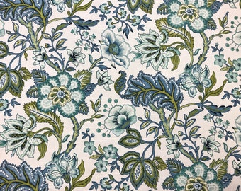 Richloom Crawford Azure Floral Jacobean Aqua Teal Green Blue Off White Cotton Upholstery Drapery Fabric STA1106