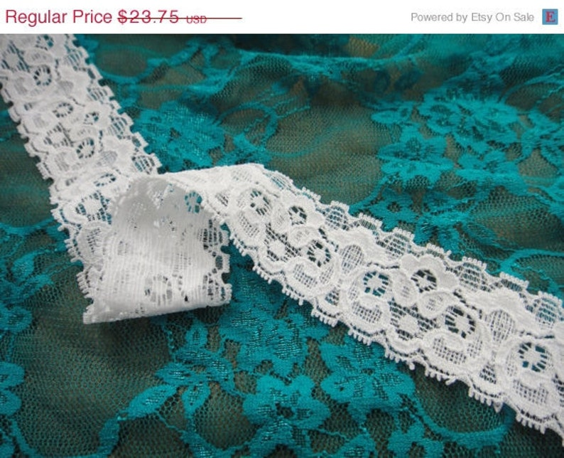 Simple beautiful 25 yards 1 14 width double side stretch white lace trim white wedding bridal stretch lace trim ...soft ST