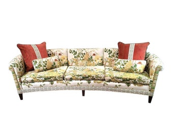 Vintage 1970's Paolo Muccio Chinoiserie Floral MCM Sofa with Angelo Donghia Jackson Velvet Pillows.