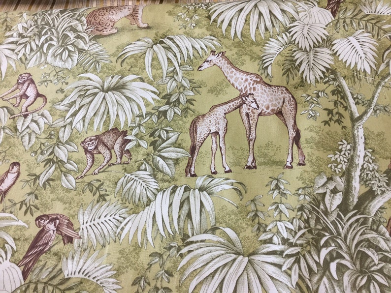 56 Wide Green Chartreuse Sage Tropical Giraffe Leopard Palm Leaves Toile Home Decorator Fabric French Country Upholstery Drapery Kaufmann